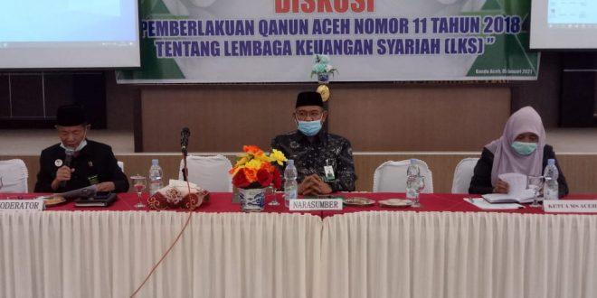 Ketua Dan Hakim MS Meureudu mengikuti kegiatan Diskusi Implementasi Qanun Aceh Nomor 11 Tahun 2018.